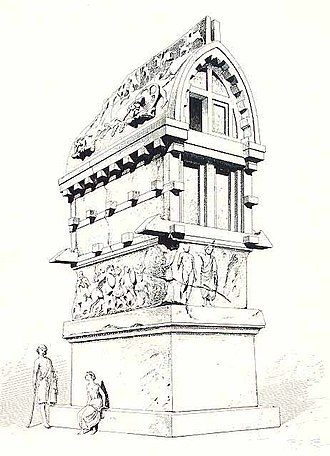 Tomb of Payava - Image: Sarcophagus of Payava from Xanthos from the Entretiens sur l'Architecture, Atlas by Viollet le Duc 1863