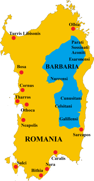 Barbagia - The Barbaria (in blue) and the Roman controlled regions of Sardinia (in yellow)
