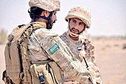Saudi Arabian soldier from the First Airborne Brigade with a UAE soldier, 2016