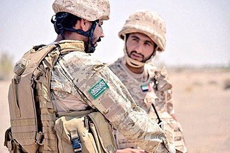 Yemeni Civil War (2015–present) - Saudi soldier from the First Airborne Brigade conversing with an Emirati soldier in Yemen, June 2016.