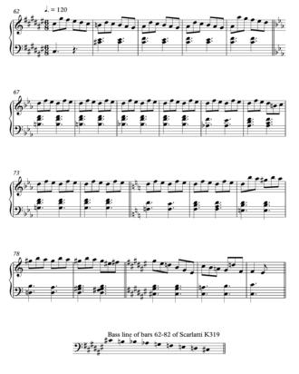 Octatonic scale - Image: Scarlatti Sonata K319, bars 62 80