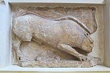 Scene from myth of Calydonian Boar, Delphi, Greece