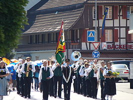 Student procession in 2011, led by the Sternenberg Neuenegg Music Society