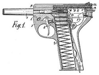 Schouboe Automatic Pistol - This is a patent photo for the Schouboe Automatic Pistol, designed in 1903