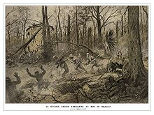 illustration of Maines chasing German soldiers through a forest shattered by artillery, one Marine centered is stabbing a German through the chest with a bayonet
