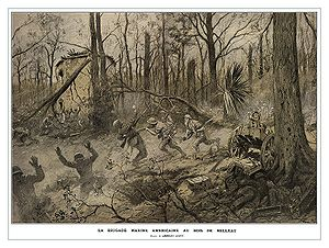 Painting of Marines fighting in World War I