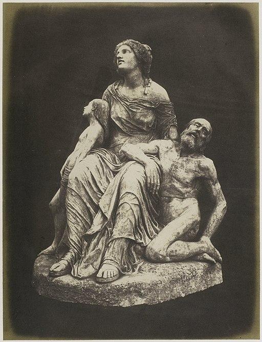 Sculptuur van cholera slachtoffers door Antoine Étex, tentoongesteld op de Great Exhibition of the Works of Industry of All Nations van 1851 in Londen Cholera. (Plaster) Etex (titel op object), RP-F-F25215-AI