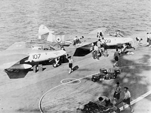 Sea Hawks 800 NAS armed on HMS Albion (R07) Suez 1956.jpg