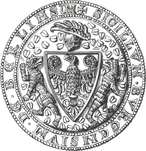 Supporter - Seal of the city of Berlin (1280), showing the Brandenburg coat of arms flanked by two bears