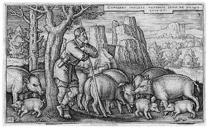 Swineherd - Engraving of the Prodigal Son as a swineherd by Hans Sebald Beham, 1538.