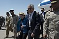 Secretary of Defense Chuck Hagel walks with U.S. Ambassador to Egypt, Anne Patterson upon arrival in Cairo, Egypt, April 24, 2013.jpg