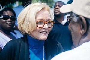 Ferguson unrest - United States Senator Claire McCaskill (D-MO) talking to protesters in Ferguson