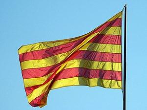 Senyera - Flag of Catalonia at the Plaça Octavià in Sant Cugat del Vallès