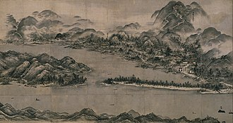 """Amanohashidate - """"View of Ama-no-Hashidate"""" by Sesshū Tōyō On the right, torii of Kono Shrine is seen. And on extreme right, Kanmurijima and Kutsujima are also painted."""