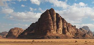 "Seven Pillars of Wisdom - ""The Seven Pillars"" rock formation in Wadi Rum"