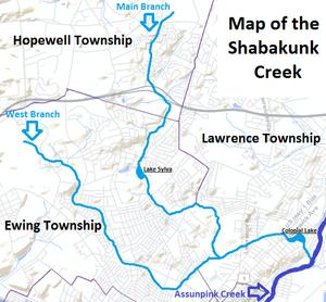 Shabakunk Creek - Map of the Shabakunk Creek