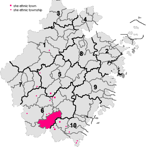 She ethnic county, townships and towns in Zhejiang