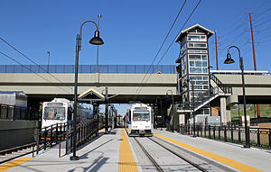 Sheridan station (RTD) - A view from the Lakewood side of the station looking east towards Denver.