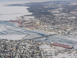 Aerial view of Sturgeon Bay.
