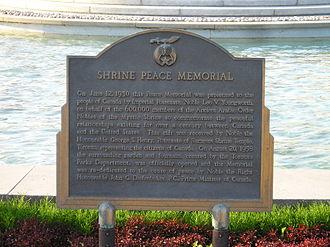 Shrine Peace Memorial - Image: Shrine Peace Memorial plaque Toronto CNE Grounds Sept 1 05