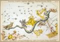 Sidney Hall - Urania's Mirror - Noctua, Corvus, Crater, Sextans Uraniæ, Hydra, Felis, Lupus, Centaurus, Antlia Pneumatica, Argo Navis, and Pyxis Nautica.png