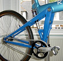 Rear triangle of a blue Klein Mantra
