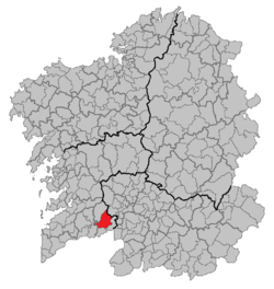 Situation of A Cañiza within Galicia
