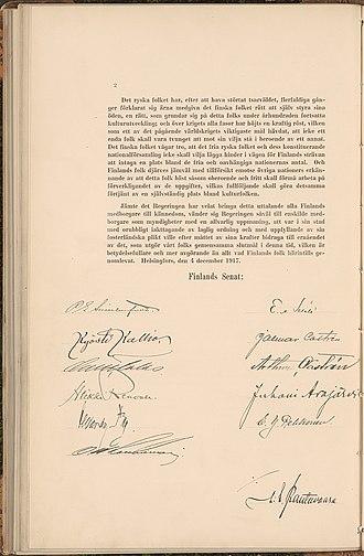 Finnish Declaration of Independence - Image: Självständighetsförk laringen 4 12 1917 2