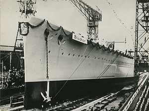 German cruiser Blücher - Blücher launching at Kiel, 8 June 1937