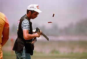 Matthew Dryke competes in the skeet shooting e...