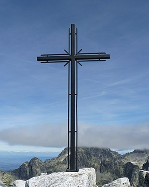 History of Christianity in Slovakia - Cross at the top of the Slavkovský štít mountain in the Tatra Mountains