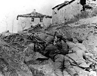 Brazilian Expeditionary Force - Brazilian soldiers in a trench during the Battle of Montese, April 1945.
