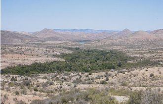 Desert riparian - The Sonoita Creek riparian forest in southern Arizona, surrounded by rugged high desert terrain.