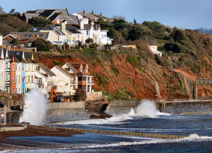 2013–14 United Kingdom winter floods - Breached seawall and railway at Dawlish, Devon