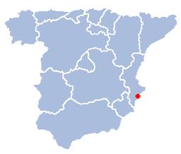 Alicantes beliggenhed i Spanien.