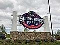 Sports Force Parks at Cedar Point Sports Center entrance sign (1949).jpg