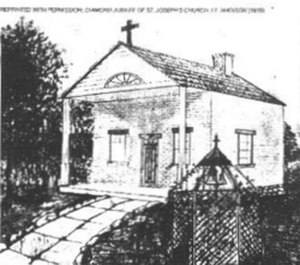John George Alleman - The original St. Joseph's Church in Fort Madison, Iowa, constructed under the leadership of Father Alleman.