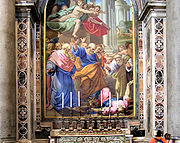 """A """"painting"""" made from tesserae in St Peter's Basilica, Vatican State, Italy."""