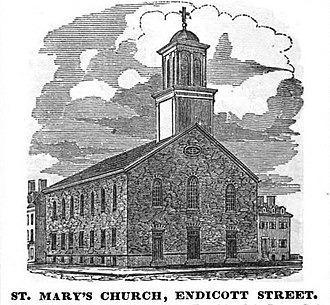 After intense conflict, Fenwick placed St. Mary's Church in Boston under interdict. StMarys EndicottSt Boston HomansSketches1851.jpg