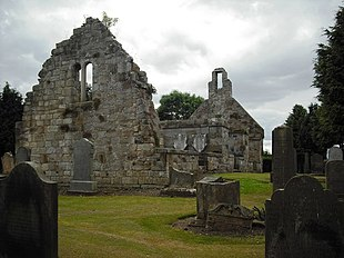 The remains of St Cuthbert's Kirk, a 16th-century church, abandoned in 1750