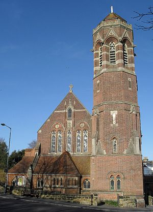 St John the Evangelist's Church, St Leonards-on-Sea - The tower is the main surviving structural feature of Arthur Blomfield's building of 1881, which was severely damaged by bombing in 1943.
