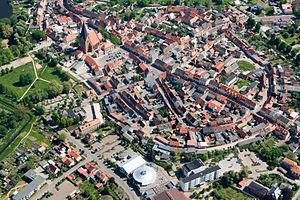 Röbel - Aerial view of Rübel's old town