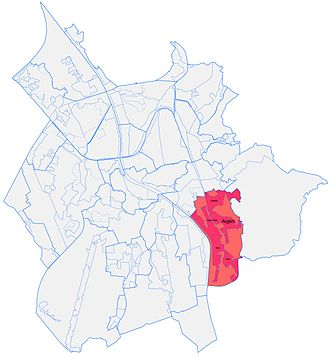 Aigen (Salzburg city district) - Salzburg Districts. Aigen is in the south-east of the map