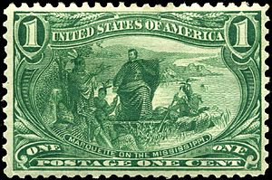 Trans-Mississippi Issue - The 1-cent value depicted Father Marquette on the Mississippi River.