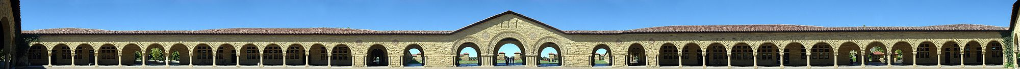 Orthographic panorama of the Main Quad, located in the heart of the Stanford University campus.