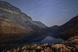 Star trail from Laguna del Inca, Portillo.jpg
