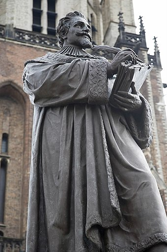 Statue of Hugo Grotius in Delft, the Netherlands