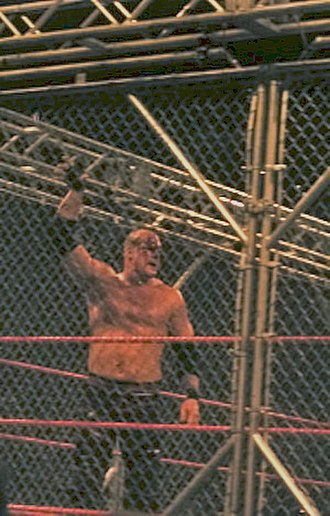 Kane (wrestler) - A blooded Kane in a steel cage match against Edge