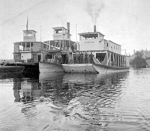 Nowitka - Nowitka  on right, ''Klahowya'' center, and ''Isabella McCormack'' (converted to houseboat), on left, at Althalmer, BC ca 1913