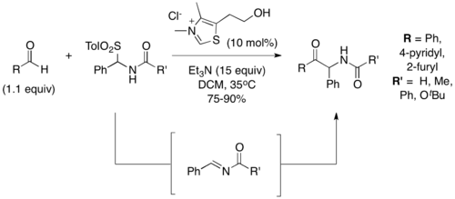 Scheme 5. Stetter reaction with acylimines as acceptors
